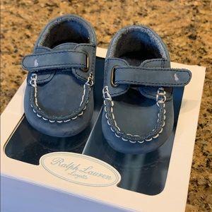 Baby boy size 2 RalphLauren Blue cribshoe 3-6month